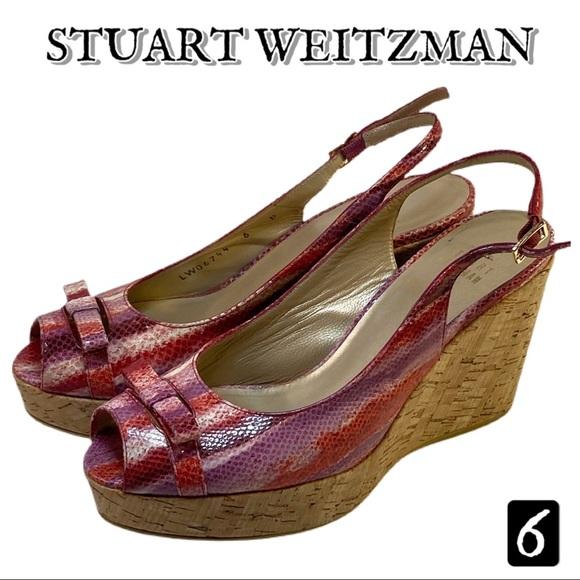 Stuart Weitzman Snakeskin Cork Wedges 6